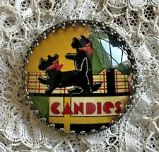 """SCOTTIES WITH RED BOWS Glass Dome BUTTON 11/4"""" Vintage Scotty Dog Candy Tin Deco"""