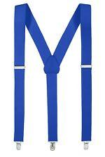New Royal Blue Suspender Men/Junior Elastic Adjustable Y-Back Clip On – Made in