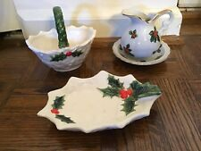 Lefton Christmas Holly Pitcher And Bowl & Basket
