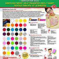 "Siser easyweed heat transfer vinyl t-shirt / textile thin htv 12"" (5 sheets)"