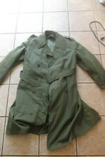 OVERCOAT / trench coat W/ LINER & BELT 1950's KOREAN WAR ERA OG 107 GREEN
