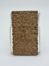 More details for finely carved chinese canton export sandal wood card case