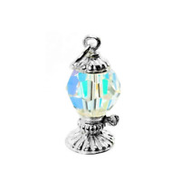 STERLING SILVER CRYSTAL SET OIL LAMP CHARM