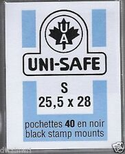 "Prinz Uni-Safe ""S"" Top Opening #25.5x28  Stamp Mounts (Made in Germany) 40 Black"