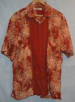 Tommy Bahama Mens XL Silk Shirt Orange Rust Floral Hawaiian Button Short Sleeve