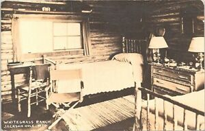 RPPC Jackson Hole WY Whitegrass Ranch Cabin Interior 1930s