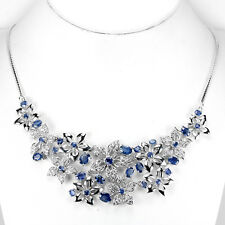 Sterling Silver 925 Genuine Natural Sapphire Flower Design Necklace 17.5 Inches
