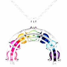 L408 Bright Rainbow Cage Necklace - Cage Rainbow - 7X Beads Locket Necklace
