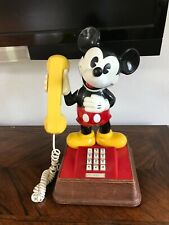 """Vintage Mickey Mouse Push Button Landline Telephone 15"""" Tested & Works"""
