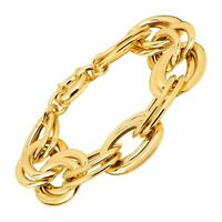 Italian-Made Double Link Chain Bracelet in 18K Gold-Plated Bronze, 9""
