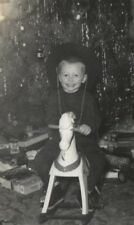 Vintage Christmas Morning Photo Tree Presents Boy Cowboy Hat Old Rocking Horse