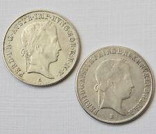 2 x 20 Kreuzer Silber Österreich Ferdinand I. 1848 A 1844 B