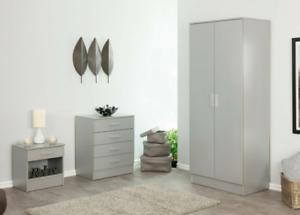3 Piece Modern Bedroom Furniture Set - Wardrobe Chest Bedside Silver Grey
