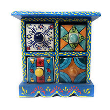 Jewelery Box Gift Handmade Wooden & Ceramic Small Chest Of 4 Decorated Drawers