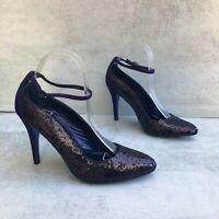 Karen Millen Heels size UK7 EU40 US9 Purple Sequined Women's Shoes Courts Pumps