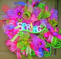 Handmade Spring Summer Easter Deco Mesh Wreath Floral Door Decor w/ Butterflies