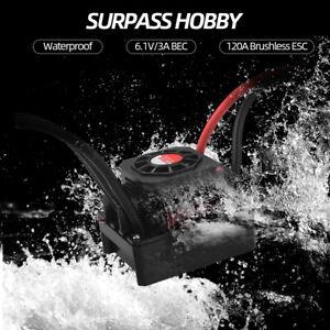 SURPASS HOBBY 120A Brushless ESC Speed Controller for 1/8 1/10 RC Truck Car S0W1