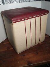 Vintage 1960 s LP Vinyl Record Storage Ottoman retro  Red White Nice