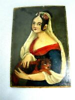 ANTIQUE SIGNED INITIALS MINIATURE PORTRAIT PAINTING of LOVELY LADY WITH DOG