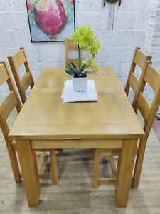 Solid Oak Extending Dining Table and 6 Chairs, Great Condition, Free Delivery 🚚