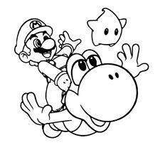 Yoshi Super Mario Brothers 3D Wall Decal Game Room Childs Bedroom -Black Outline