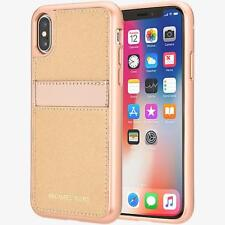 Michael Kors Saffiano Leather Pocket Case for iPhone X - Rose Gold