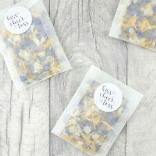 Glassine Envelopes with Kiss Cheer Toss Sticker & Dried Petal Wedding Confetti