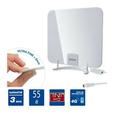 ANTENNE TV TNT HD D'INTERIEUR AMPLIFIER AMPLI 55 dB ULTRA FINE VHF UHF FM BLANC