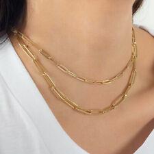 14k Oro Lleno Cadena Collar Clip De Papel Collares en capas de apilamiento de enlace largo