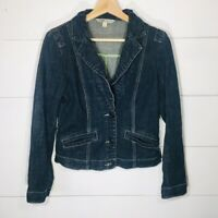 CAbi Blue Denim Fitted Jean Jacket Lucy Style #860 Women's SMALL EUC