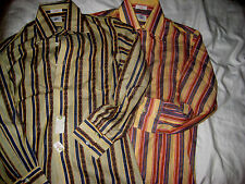 TWO VTG 70'S GANT LORD TAYLOR ALUMNI KRAMER STYLE ROCKABILLY FLY COLLAR SHIRTS-S