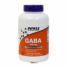 NOW FOODS GABA 500 mg 200 Caps, Promotes Relaxation, Free Shipping, Made in USA