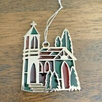Vintage Russ Berrie & Co Stained Glass Church Christmas Ornament EUC! #4665