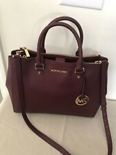 Michael Kors Handbag Merlot Wine Sutton Medium Satchel Saffiano Leather Bag