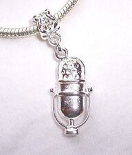 Microphone Silver Plated Band Singer Dangle Bead fits European Charm Bracelets