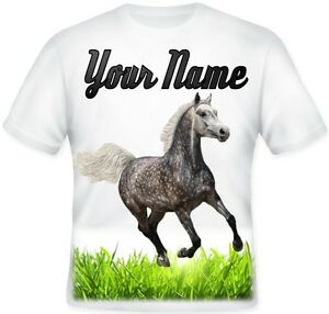 Dapple Grey Horse GIRL TOP Kids Child's Personalised T Shirt Great BIRTHDAY GIFT