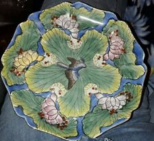 Decorative Vintage Plate Dish From China Green Blue Bird Lotus Gold Accents 8""