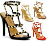 New Women's Studded Ankle Strap Sandals High Heels Rivet Gladiators Pointy Shoes