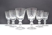 Set of 6 Mid Century Vintage Cut and Etched Glass Sherry/Liqueur Glasses