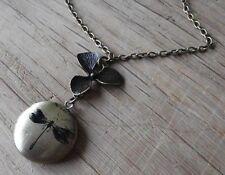 Medaillon blüte foto steampunk Libelle dragonfly amulett vintage kette Blume