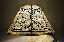 Vintage Style Lamp Shade in Peacock Pattern | Handmade Leather Floor Lampshade