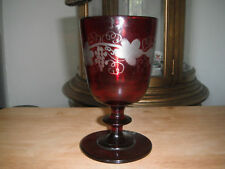 Early 19c Ruby Cut to Clear 3-Part Mold Glass Goblet