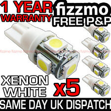 5x 5 SMD LED 501 T10 W5W PUSH WEDGE HID XENON WHITE 360 SIDE LIGHTS FREE P&P