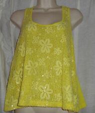 Bongo Yellow Sequin Sleeveless Top Size Large Girl's Juniors NWT