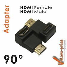 New Gold HDMI MF Right Angle Port Saver Adapter Coupler Male to Female 90 Degree