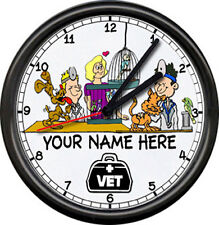 Personalized Clinic Veterinarian Male Dr. Vet Assistant Dog Cat Sign Wall Clock