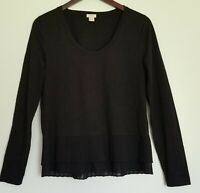 J.Crew Womens Ruffle Pleated Hem Top Shirt Blouse Tunic Long Sleeve Black Size S