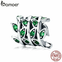 BAMOER S925 Sterling silver charm Spring Leaves & Green CZ For bracelet Jewelry
