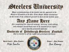 PITTSBURGH STEELERS NFL FAN ~CERTIFICATE~DIPLOMA ~MAN CAVE~OFFICE #1 FUN GIFT