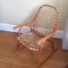 Vintage SNOCRAFT Norway Maine Rocker Rawhide Wood Snow Shoe Rocking Chair